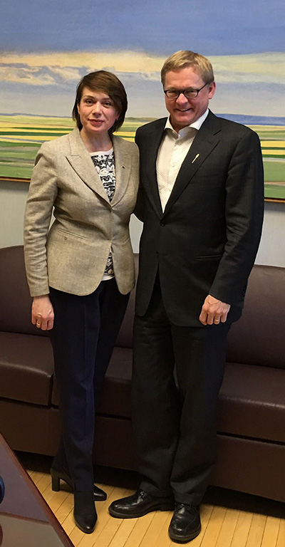 Ukraine's Education Minister Lilia Hrynevych with Alberta Education Minister David Eggen, May 16, 2016